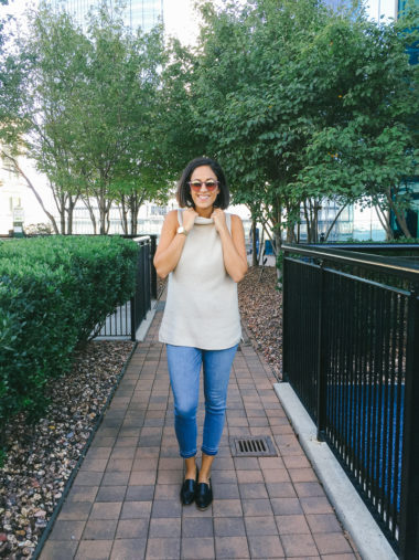 the sleeveless turtleneck: transitioning to fall