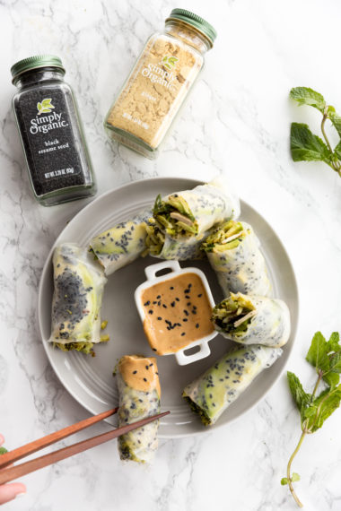 Ginger Charred Broccoli and Tofu Sesame Spring Rolls