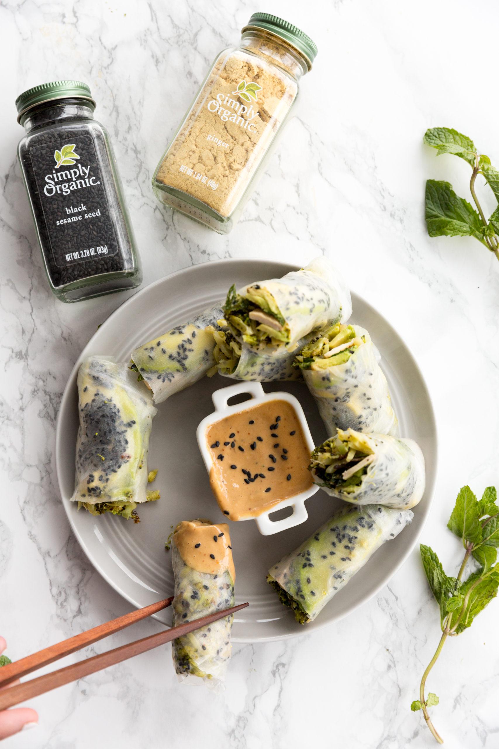 Ginger Charred Broccoli and Tofu Sesame Spring Rolls