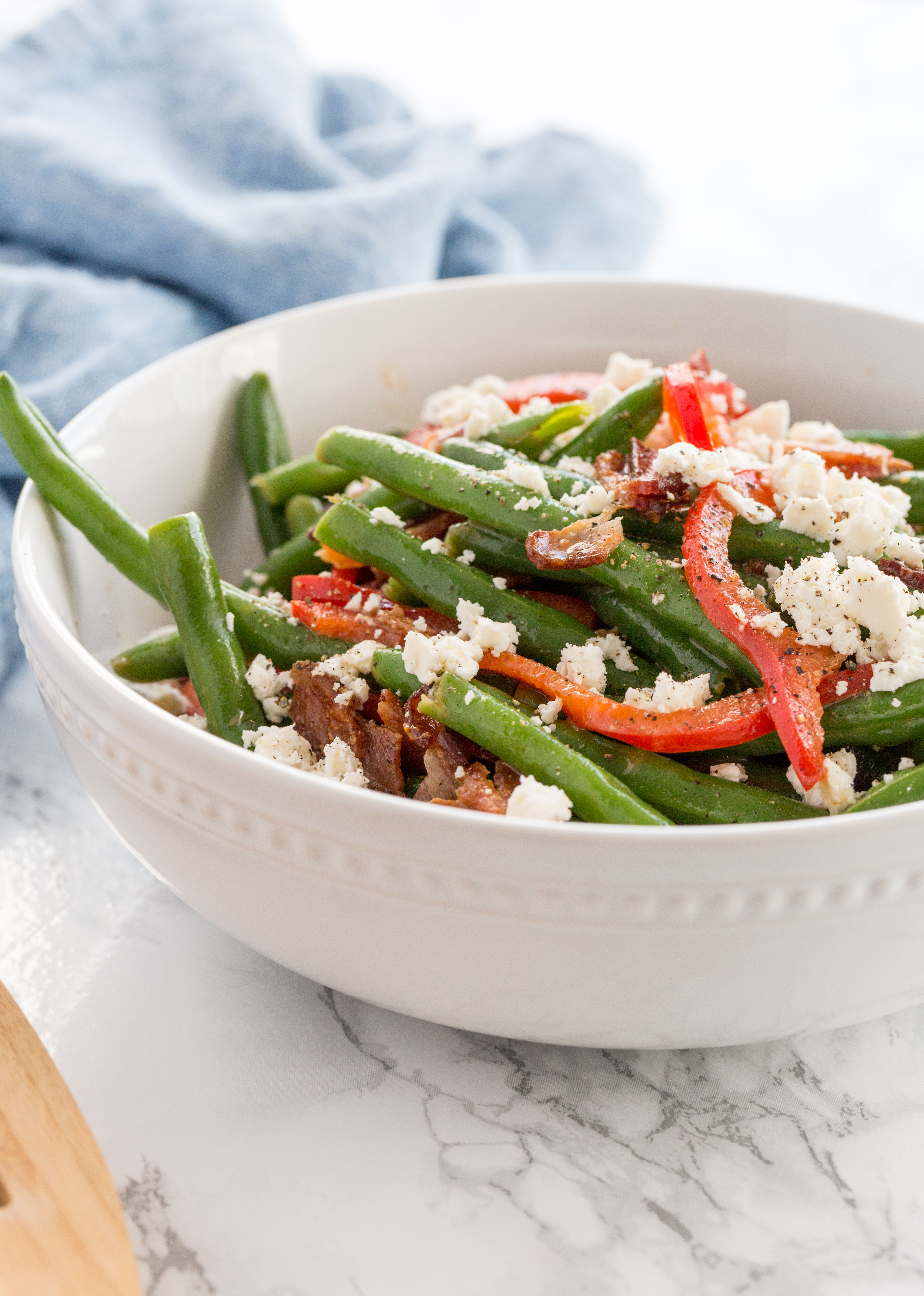 Green Bean, Bacon and Bell Pepper Salad with Feta
