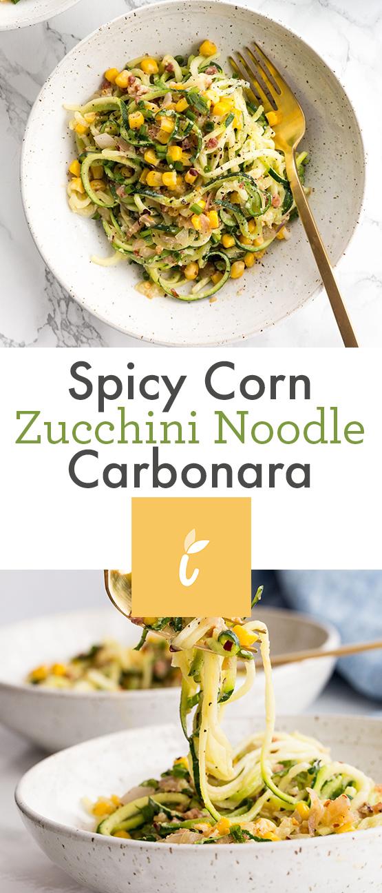 Spicy Corn Zucchini Noodle Carbonara