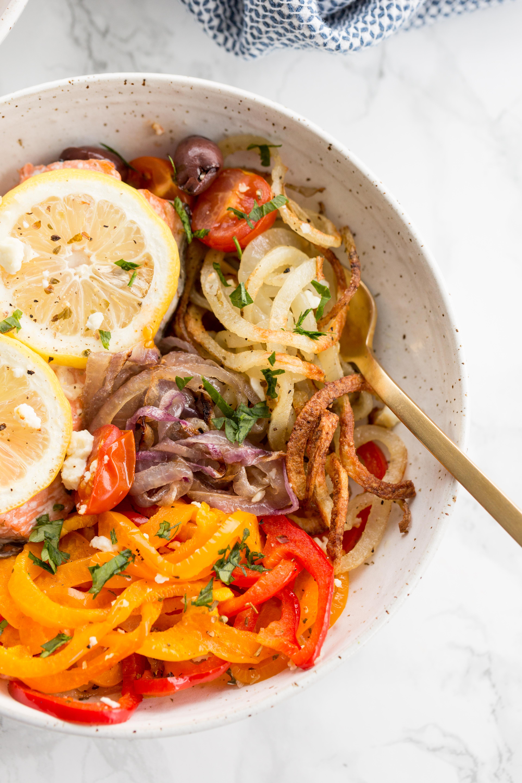 Mediterranean Salmon Sheetpan Dinner