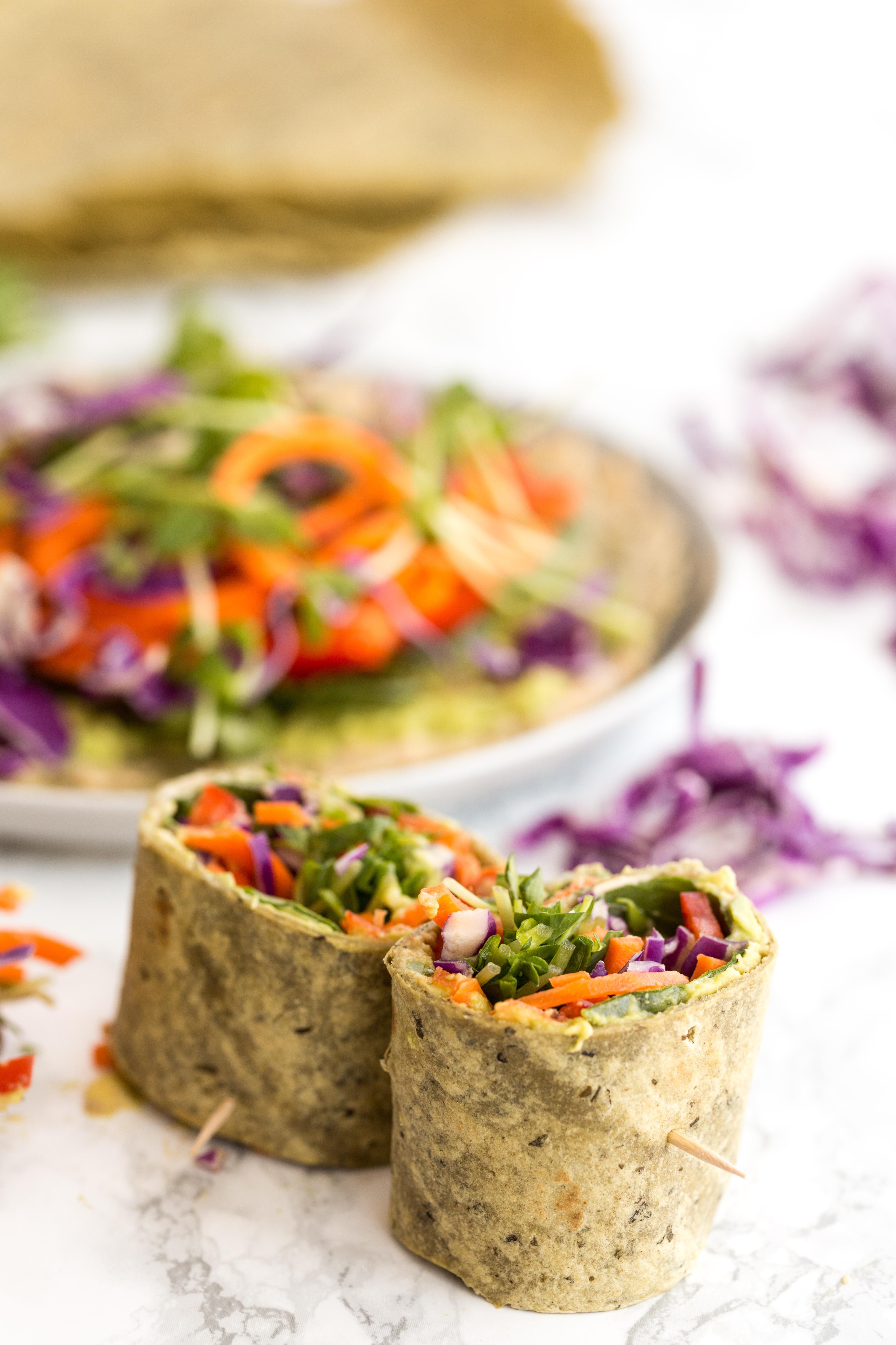 Rainbow Spiralized Vegetable Wrap