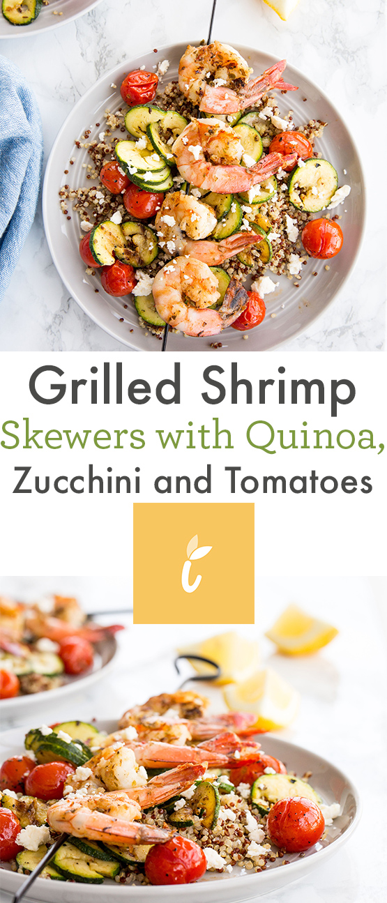 Grilled Shrimp Skewers with Quinoa, Zucchini and Tomatoes