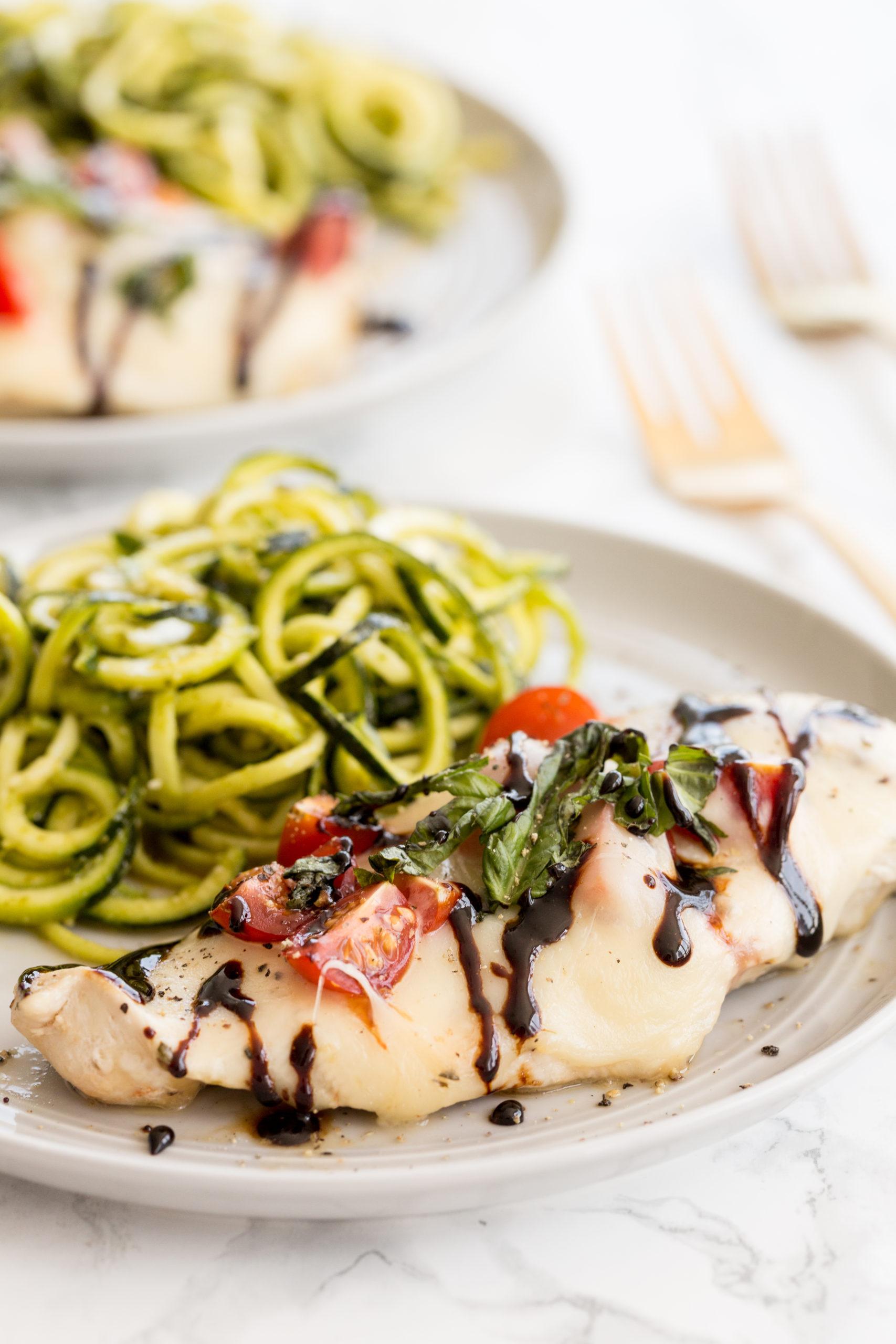 Chicken Caprese with Pesto Zucchini Noodles