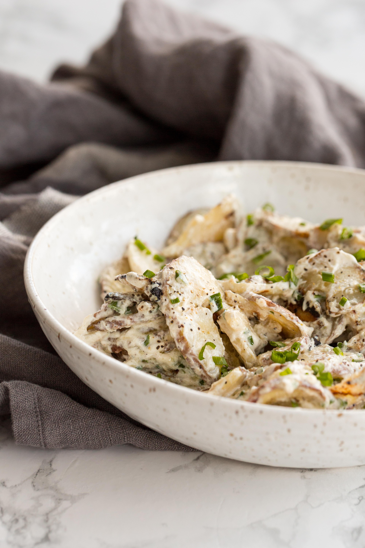 Grilled Potato Salad with Yogurt Chive Dressing