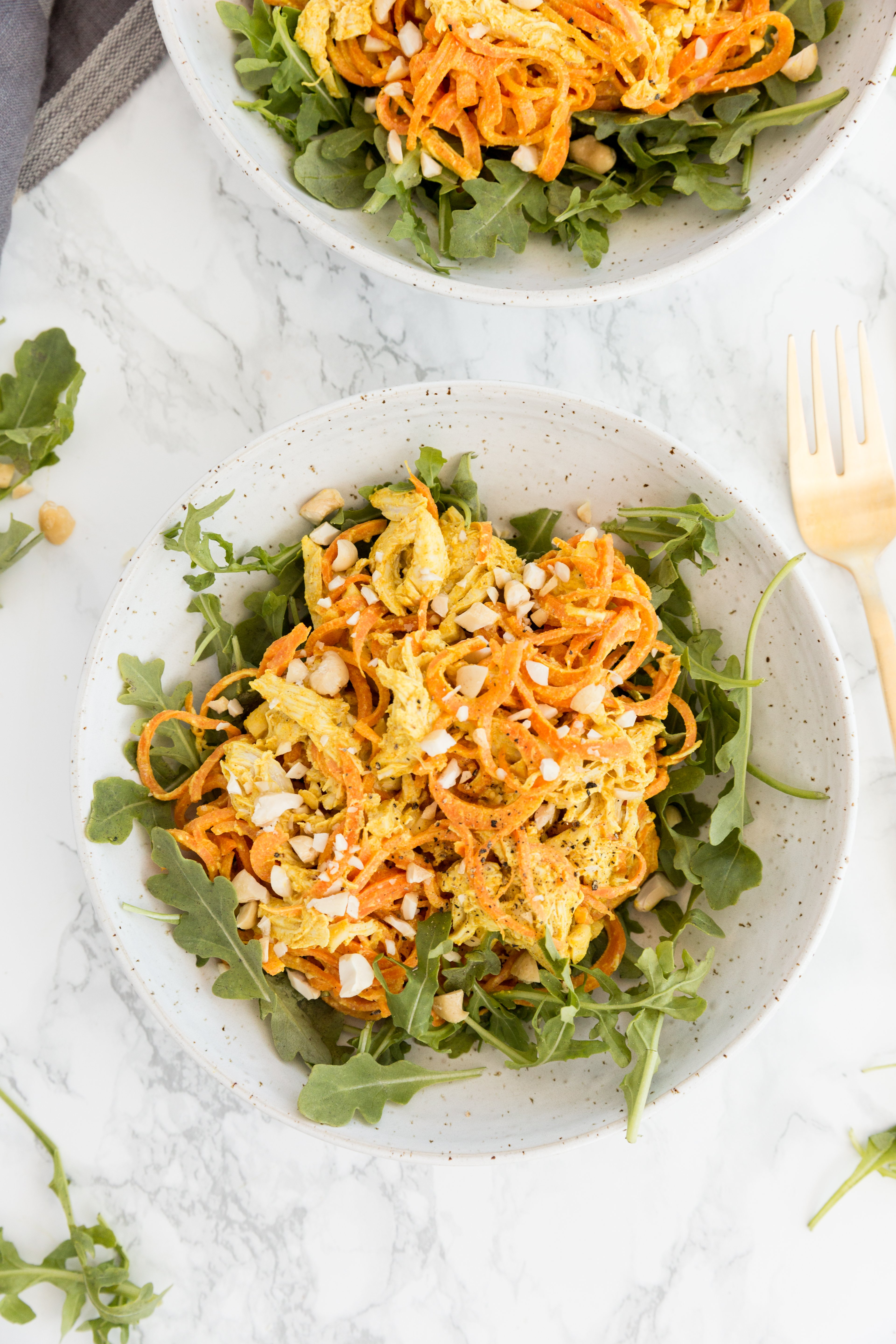 Curried Tahini Cashew Chicken and Carrot Salad
