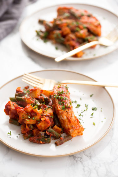 One Pot Salmon in Roasted Garlic Tomato Sauce with Green Beans and Potatoes