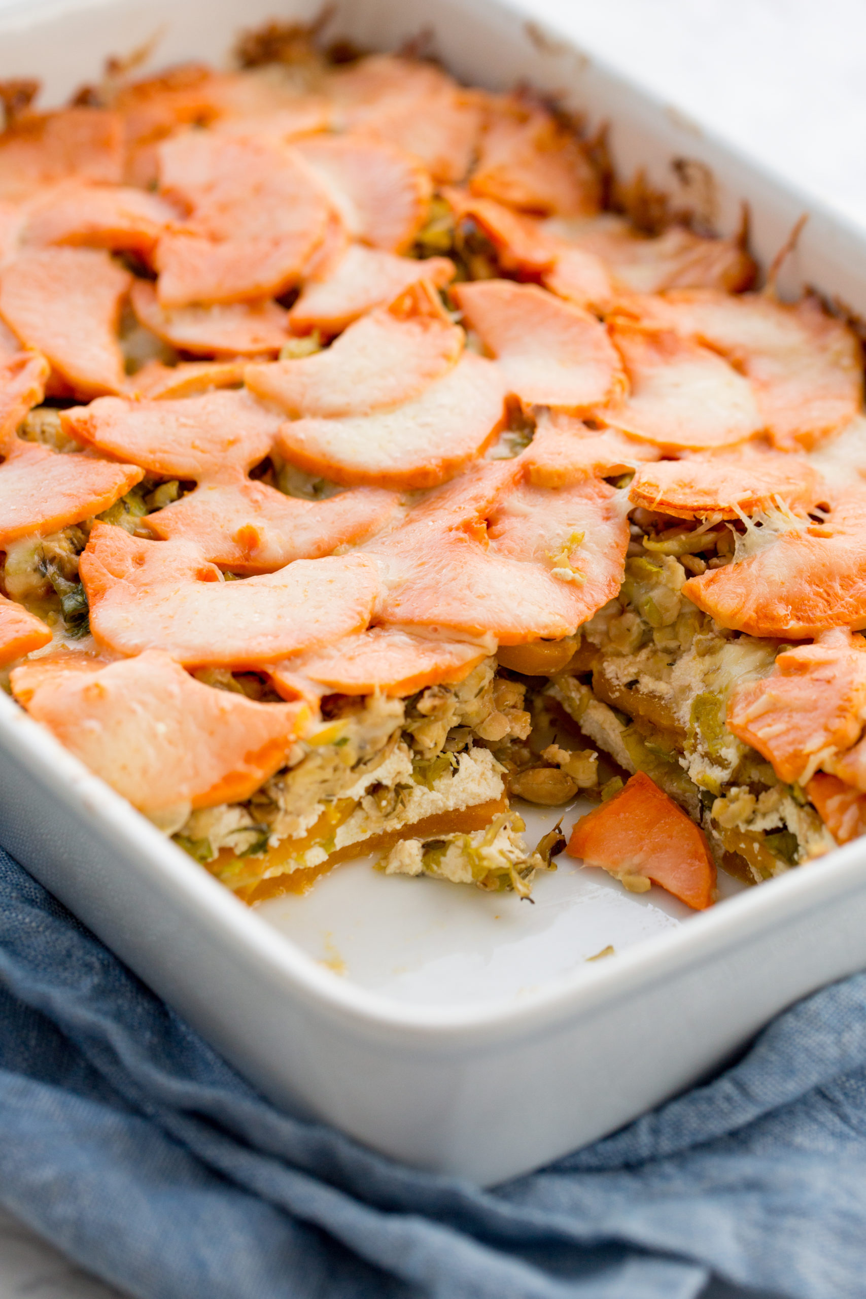 Vegetarian Butternut Squash and Brussels Sprouts Lasagna with Tempeh