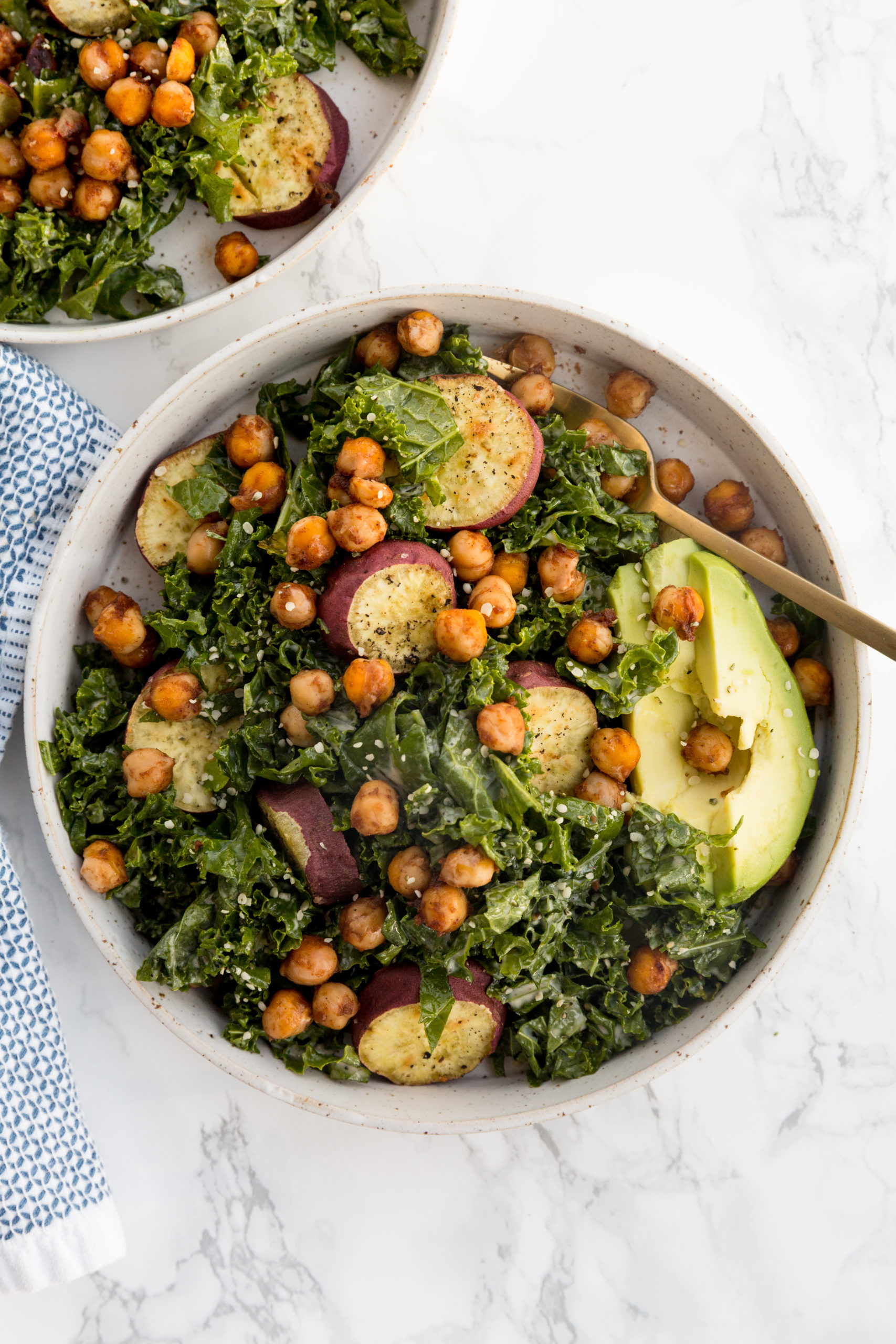 BBQ Chickpea and Sweet Potato Kale Caesar Salads