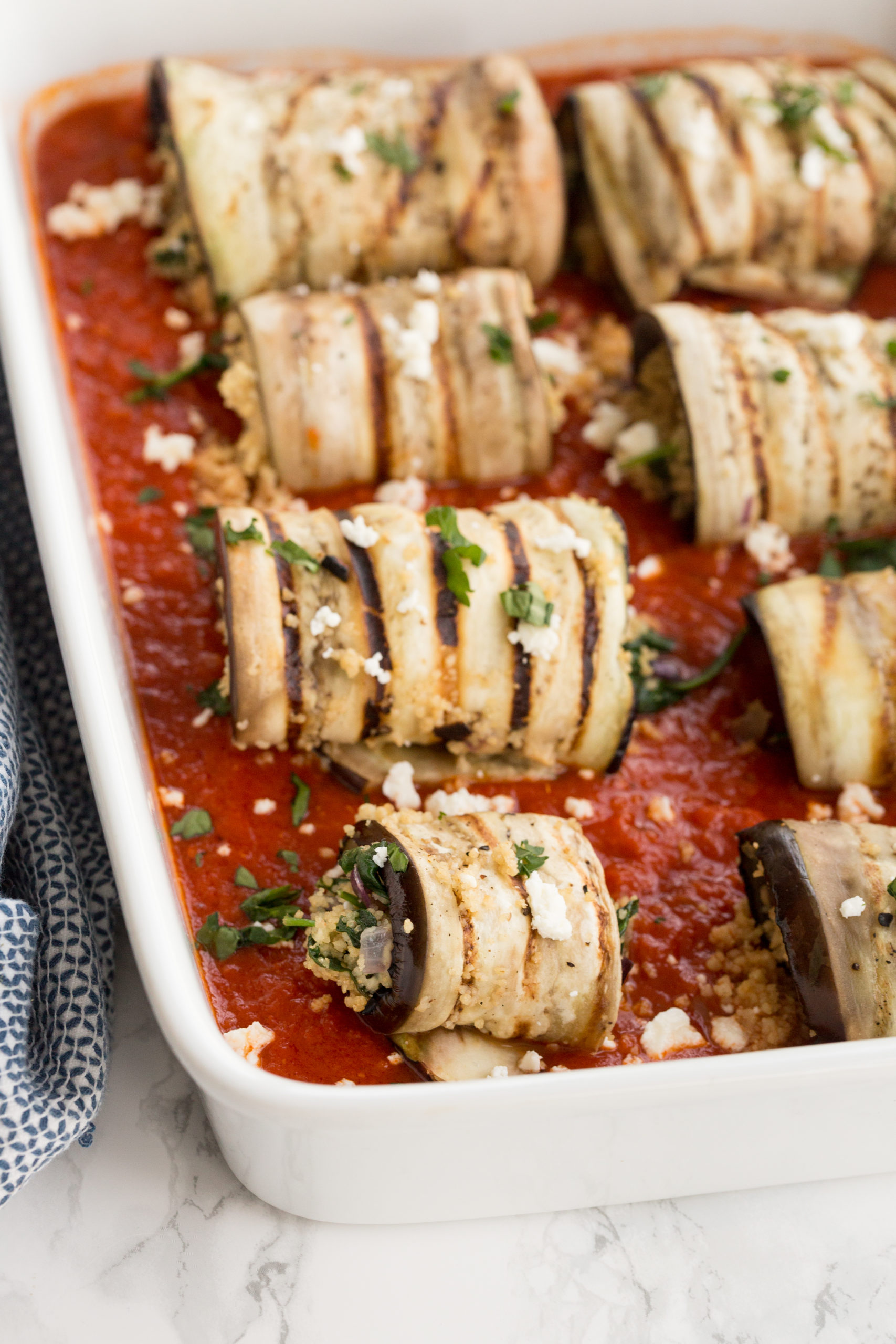 Mediterranean Eggplant and Couscous Roll Ups with Feta