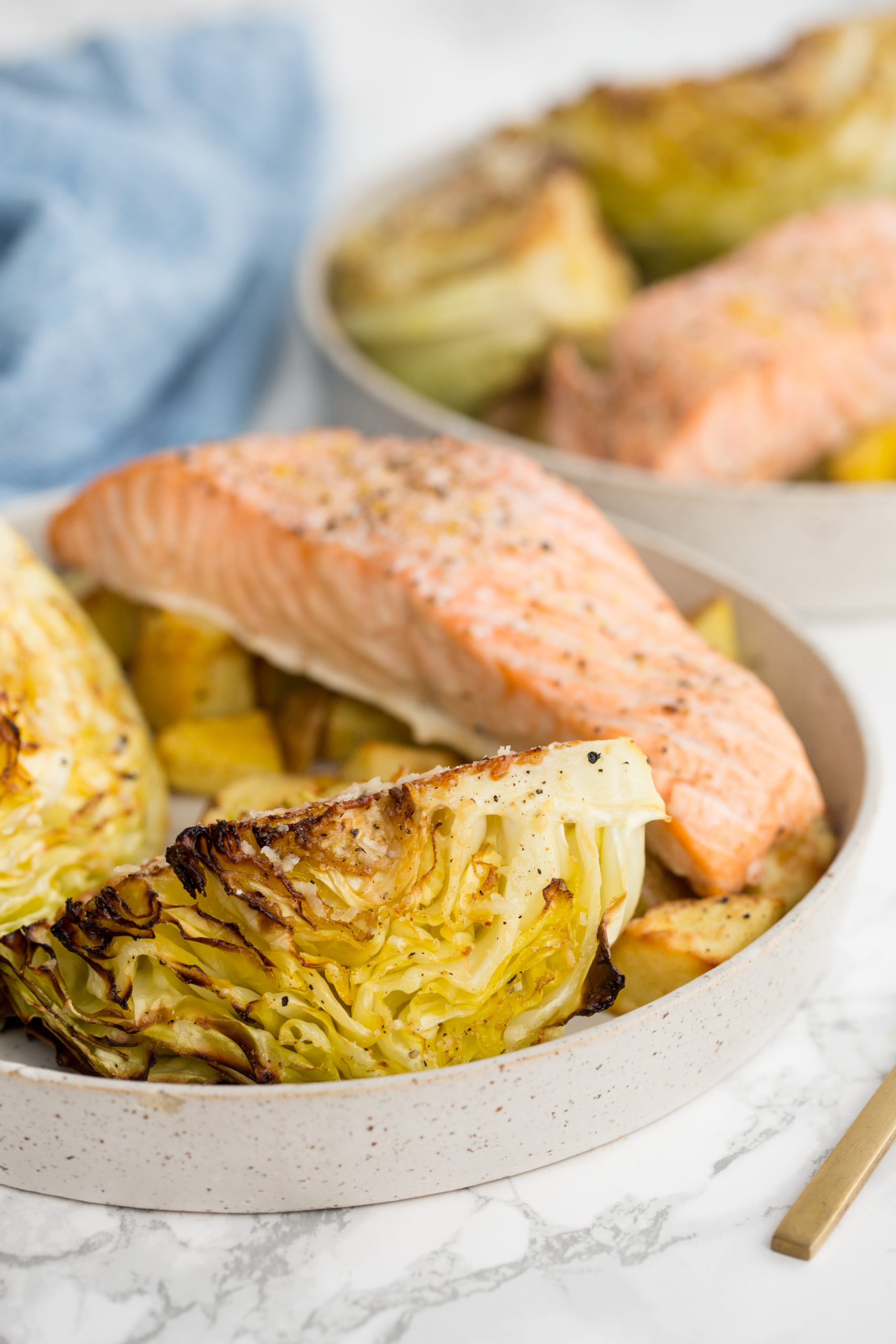 Roasted Parmesan Cabbage Wedges with Salmon