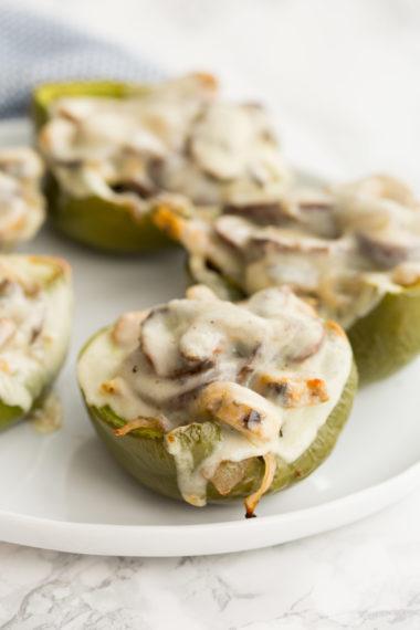 Tempeh Cheesesteak Stuffed Bell Peppers
