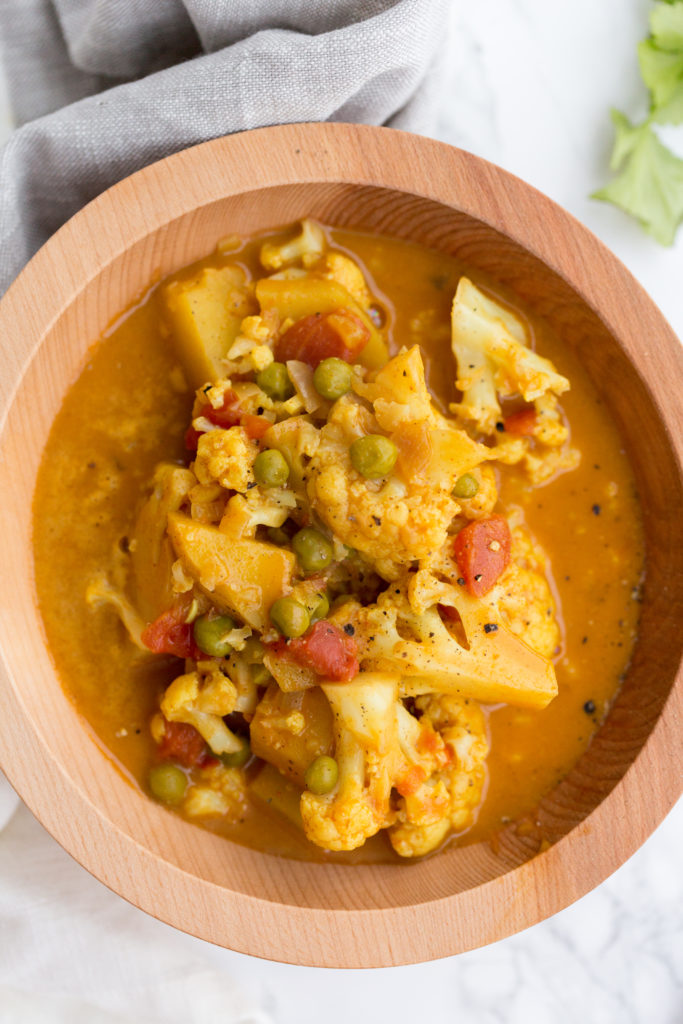 Cauliflower and Potato Curry with Peas