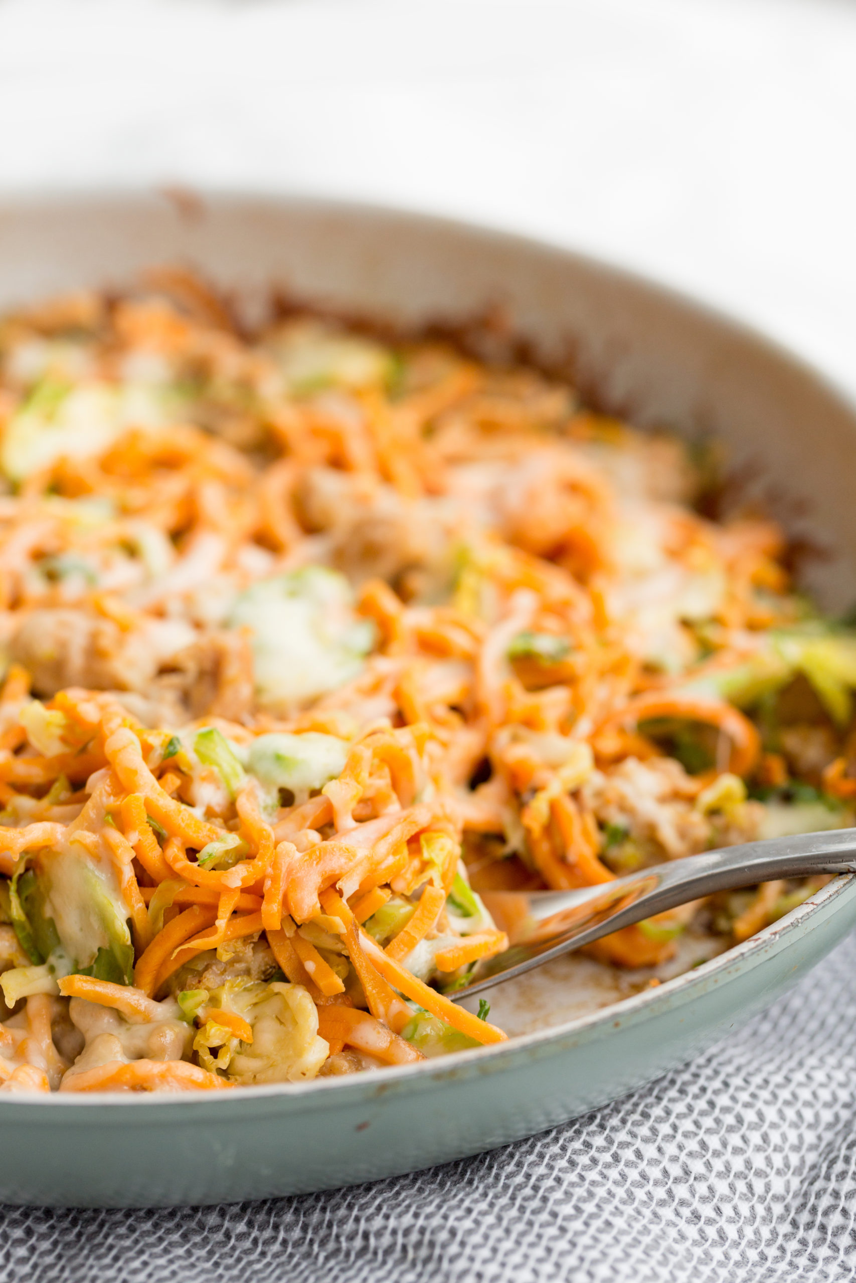 Chicken Sausage, Brussels Sprouts and Spiralized Sweet Potato Skillet