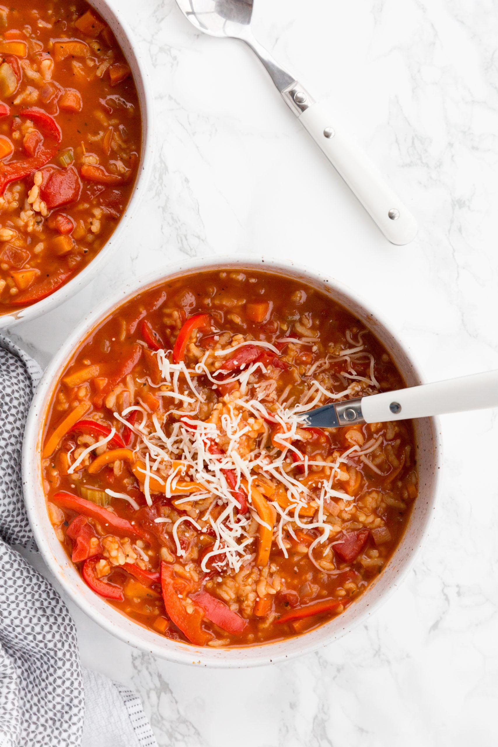 Pressure Cooker Vegetarian Stuffed Pepper Soup