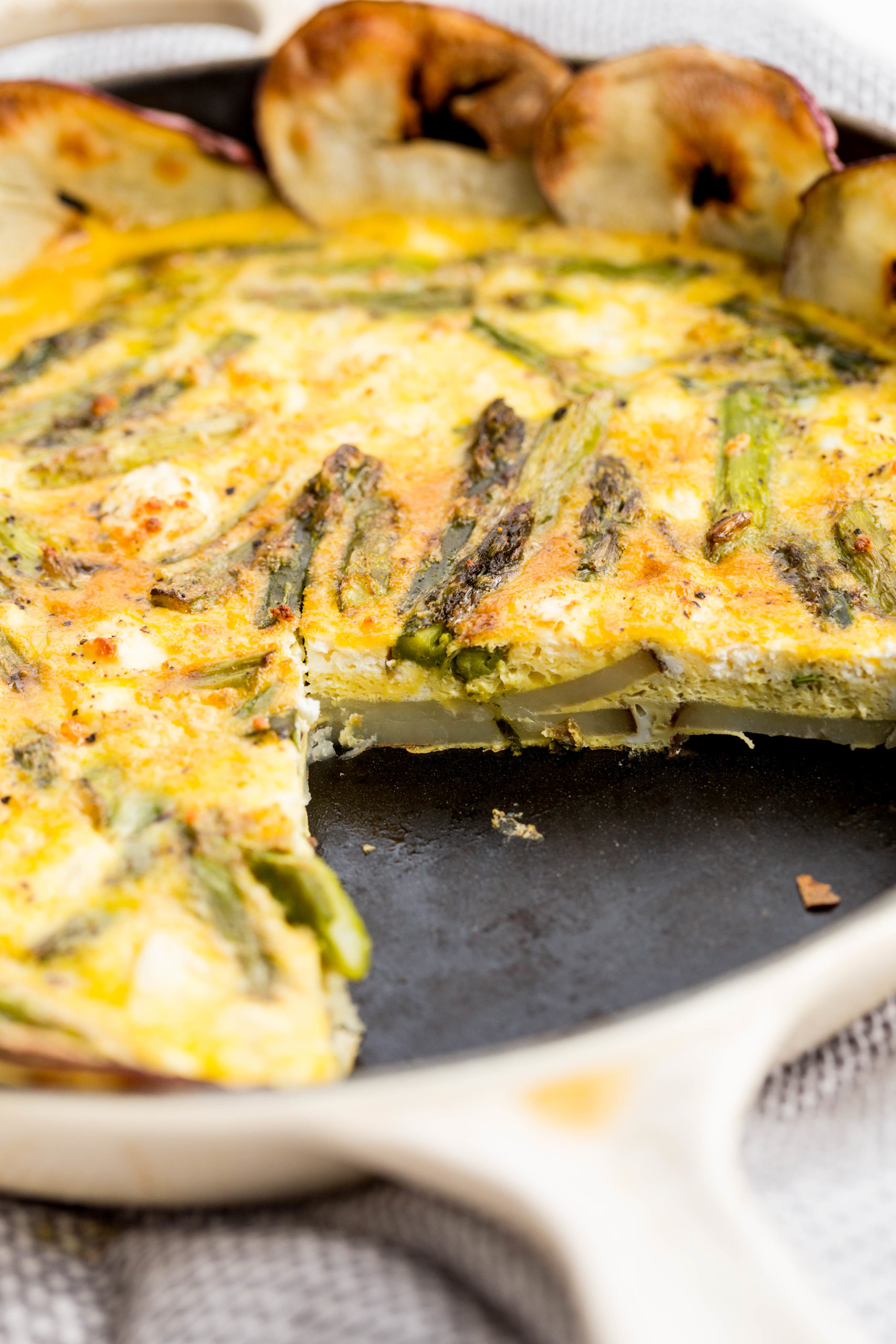 Spring Breakfast Quiche with Potatoes and Asparagus