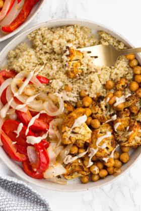 Vegetable Shawarma Quinoa Bowls with Tahini
