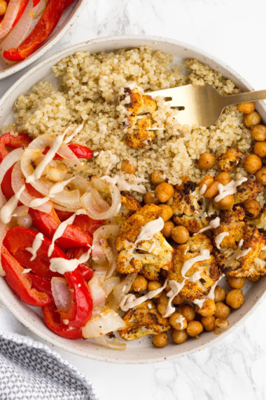 Vegetable Shawarma Quinoa Bowls with Tahini
