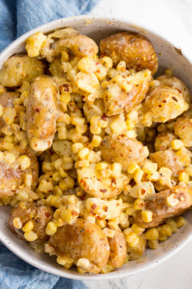 Spicy Ranch Smashed Potato and Corn Salad