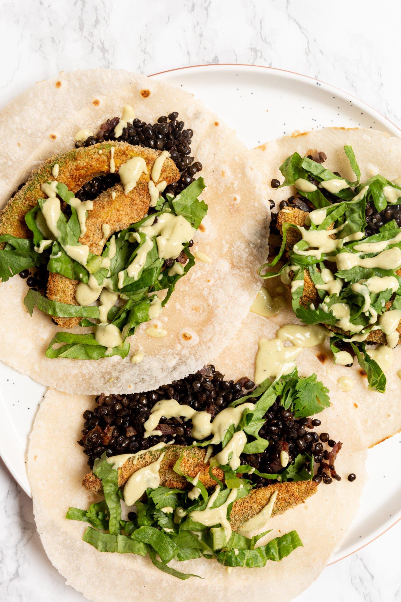 Crispy Avocado and Lentil Tacos