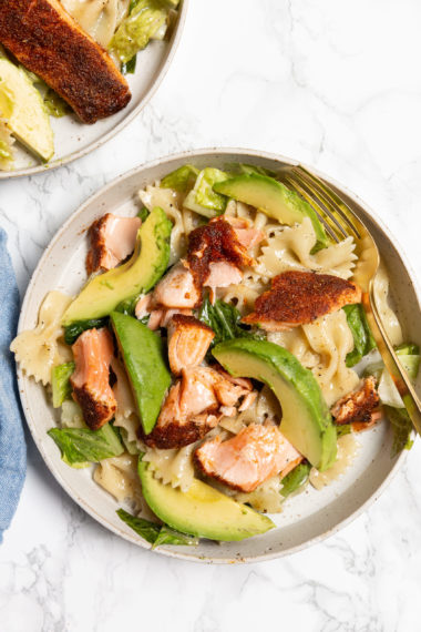 Caesar Pasta Salad with Blackened Salmon