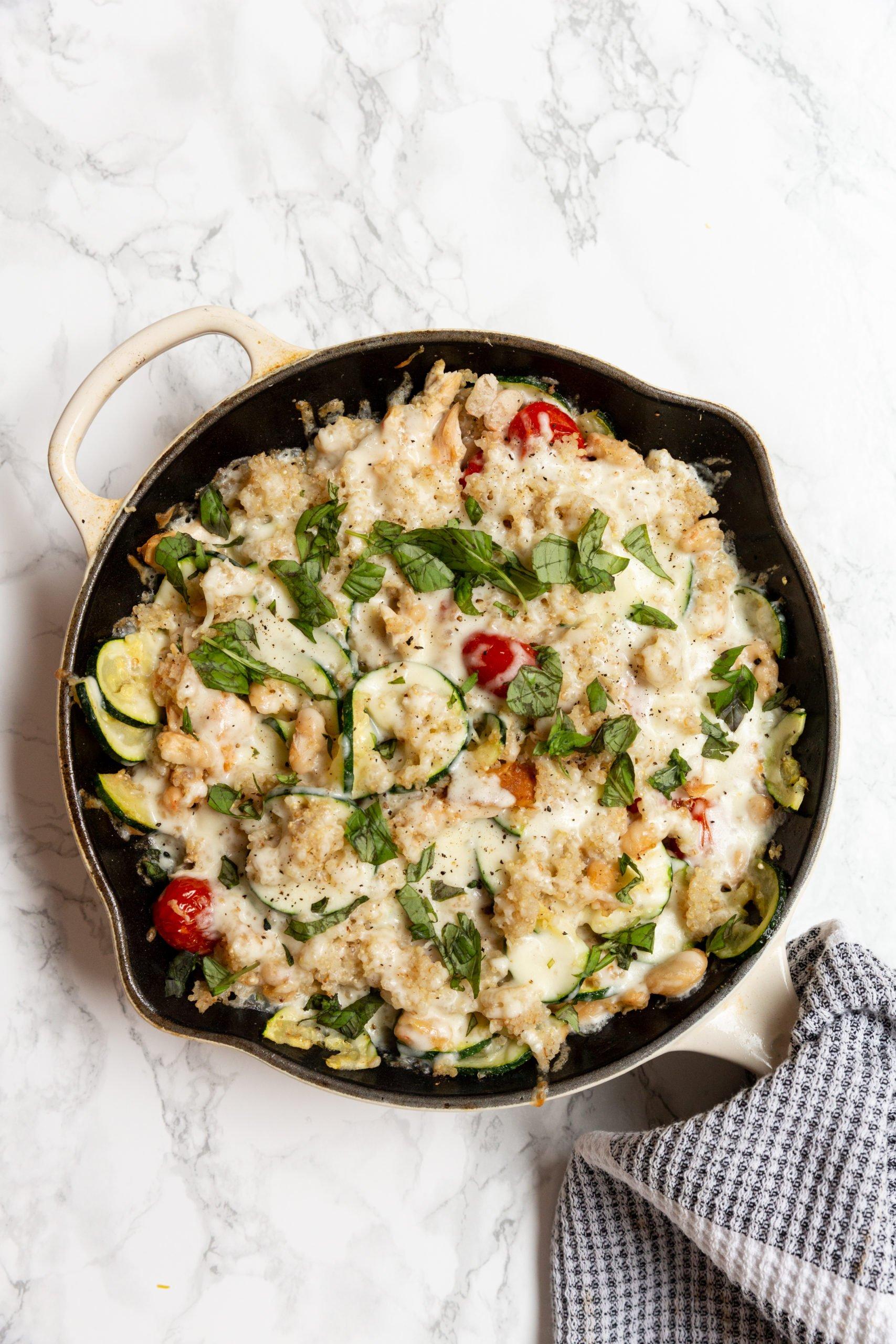 Caprese Zucchini and Quinoa Skillet with Chicken