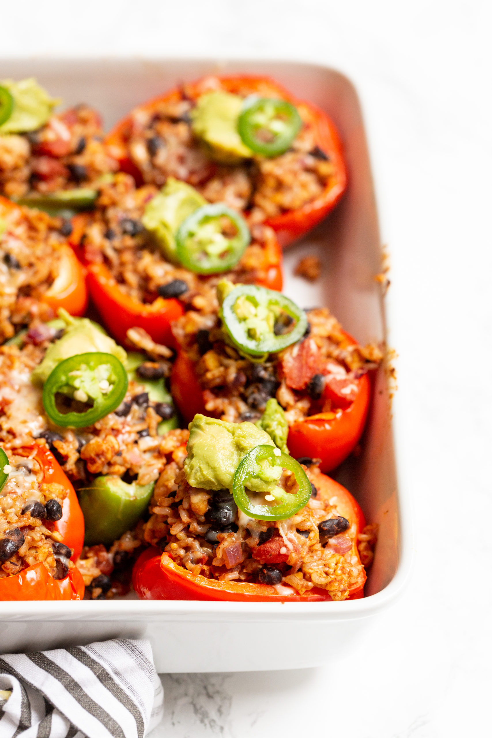 Taco Tempeh, Black Bean and Rice Stuffed Peppers