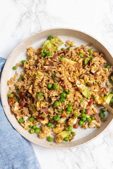 Avocado Breakfast Fried Rice with Bacon