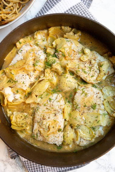 Lemon Dill Cod and Artichokes with Spiralized Potatoes