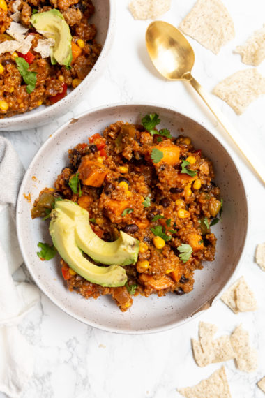 Pressure Cooker Vegetarian Sweet Potato and Quinoa Enchilada Chili