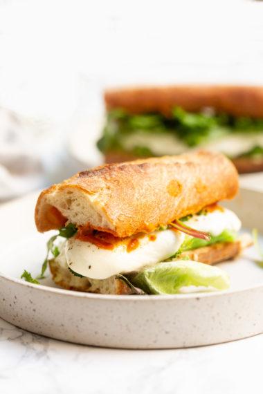 Smashed Broccoli, White Bean and Mozzarella Sandwich with Romesco