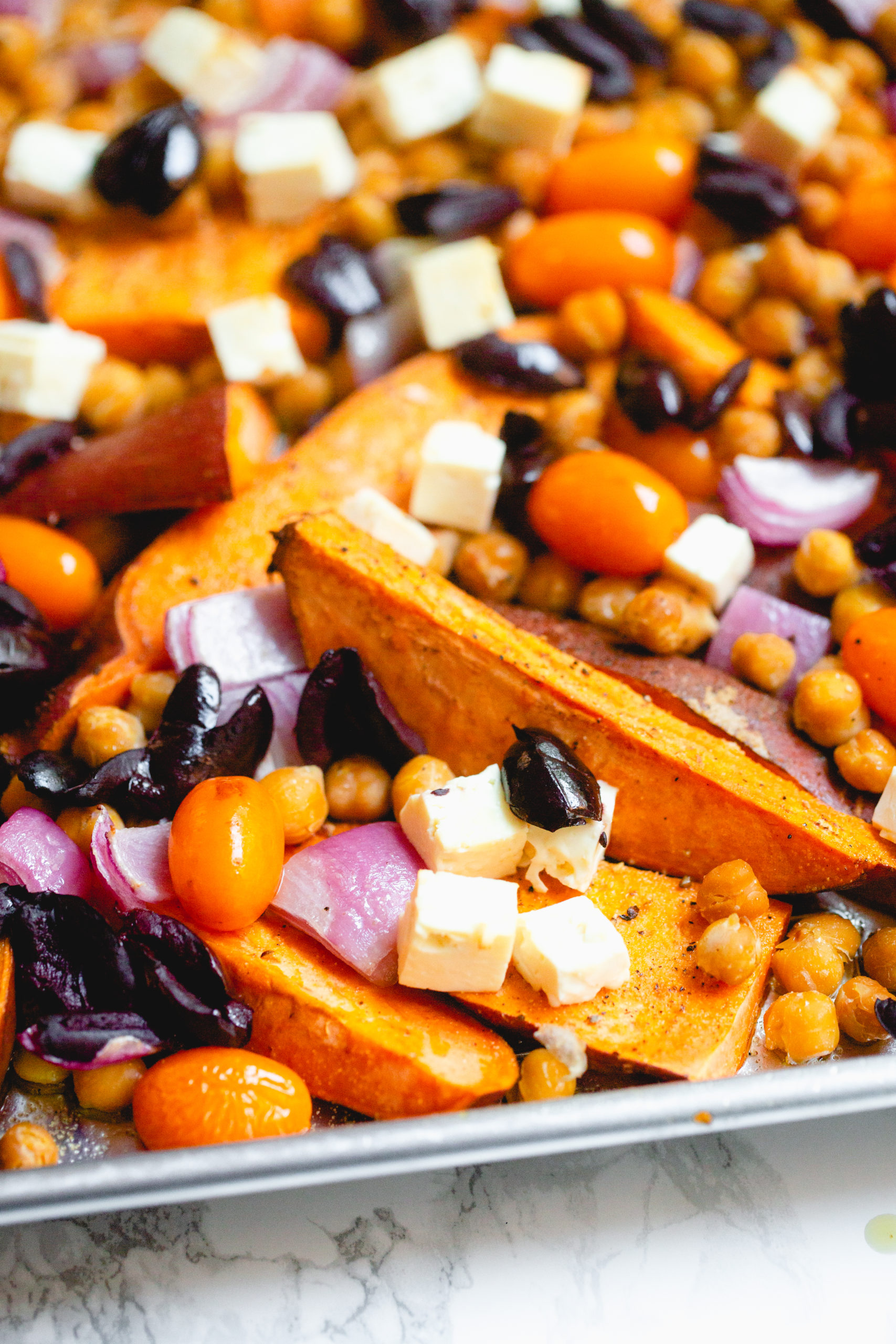 Greek Sheetpan Sweet Potatoes with Chickpeas