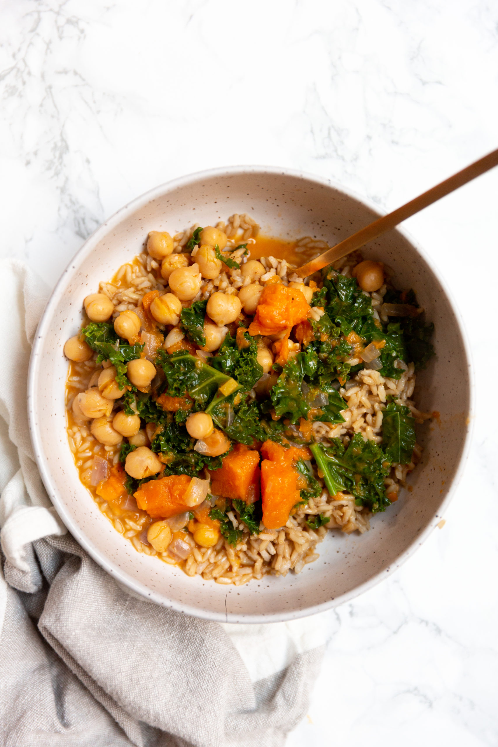 Pressure Cooker Thai Sweet Potato and Kale Chickpea Curry