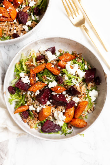 Roasted Vegetable and Farro Salad with Goat Cheese
