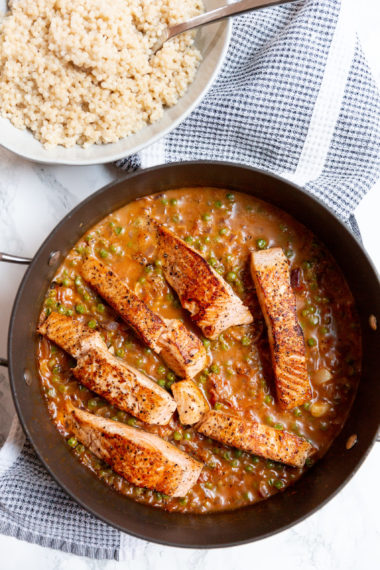 Salmon in Sundried Tomato Cream Sauce with Pearl Couscous