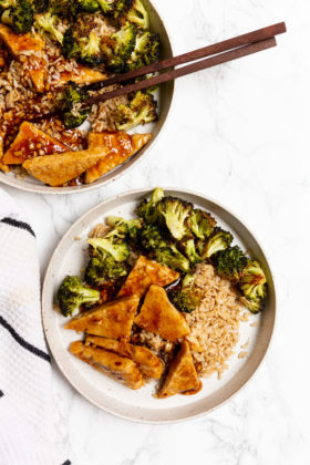 Teriyaki Tempeh and Roasted Broccoli Rice Bowls