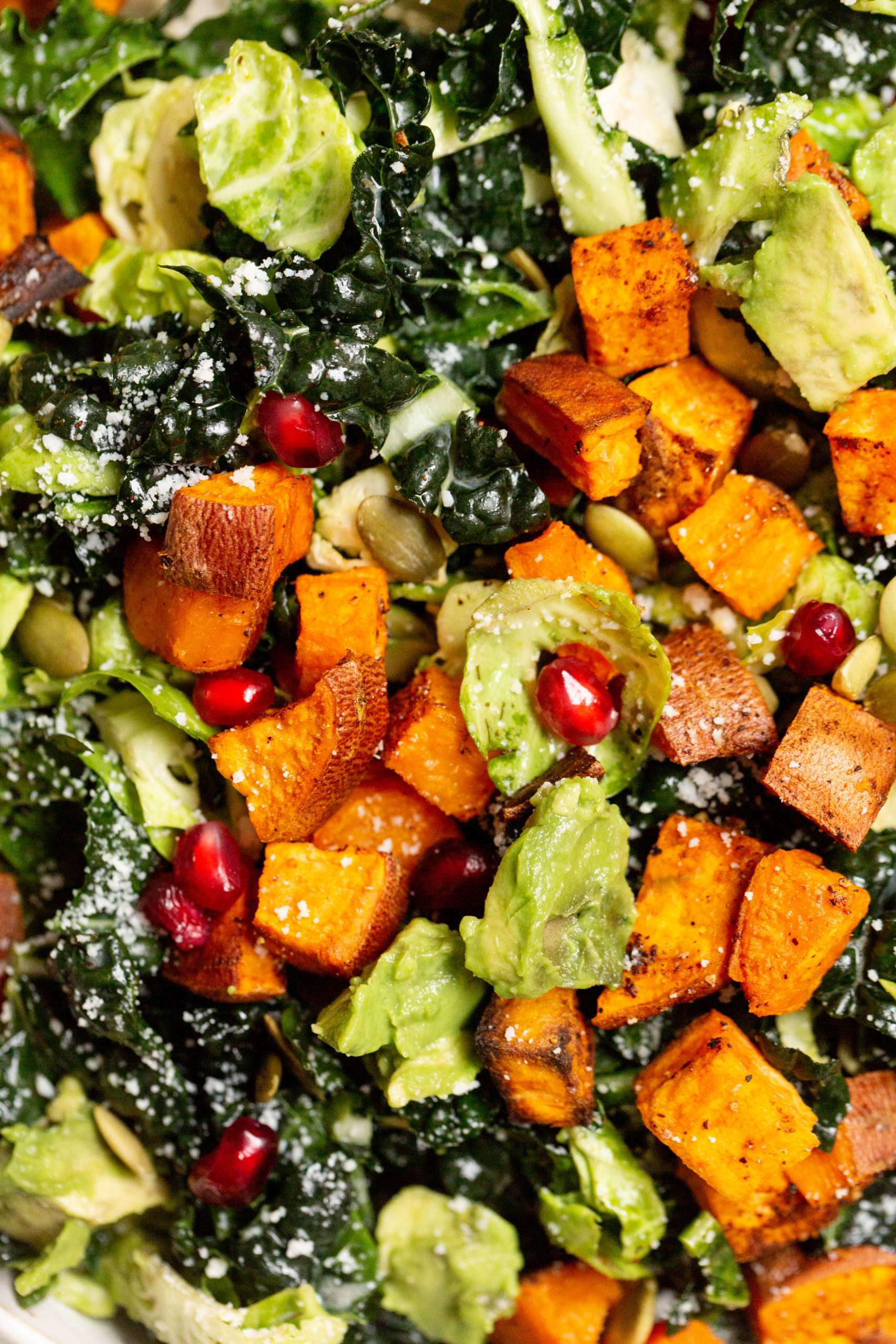Kale, Brussels Sprouts and Roasted Chili Sweet Potato Salad