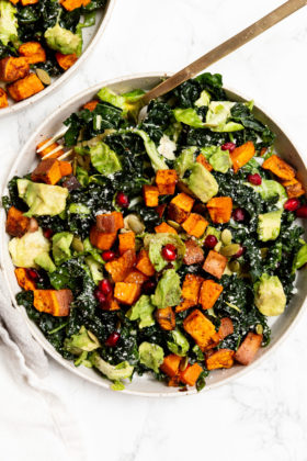 Kale, Brussels Sprouts, and Roasted Chili Sweet Potato Harvest Salad