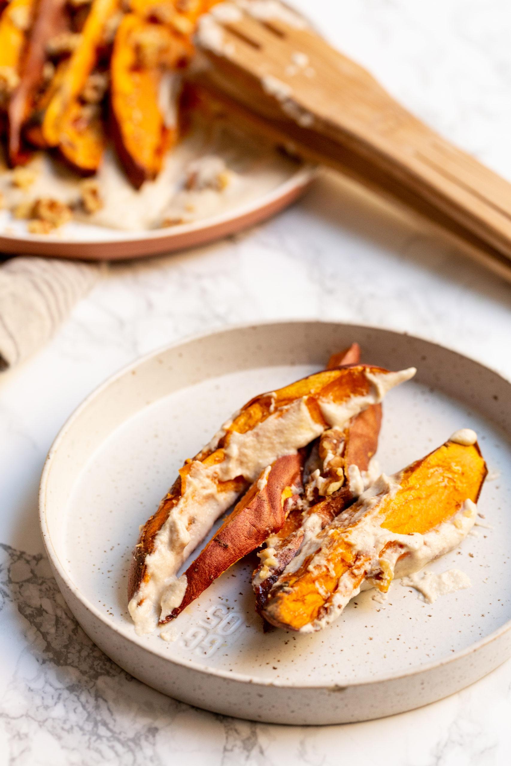 Roasted Sweet Potatoes in Maple Cashew Cream
