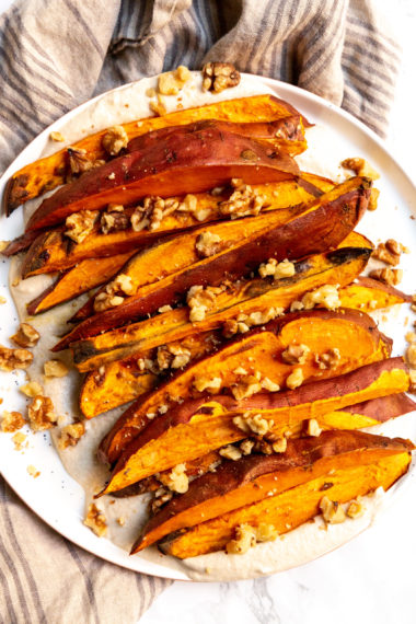Roasted Sweet Potatoes with Maple Cashew Cream and Walnuts