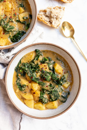 Vegan Creamy Potato and Kale Soup