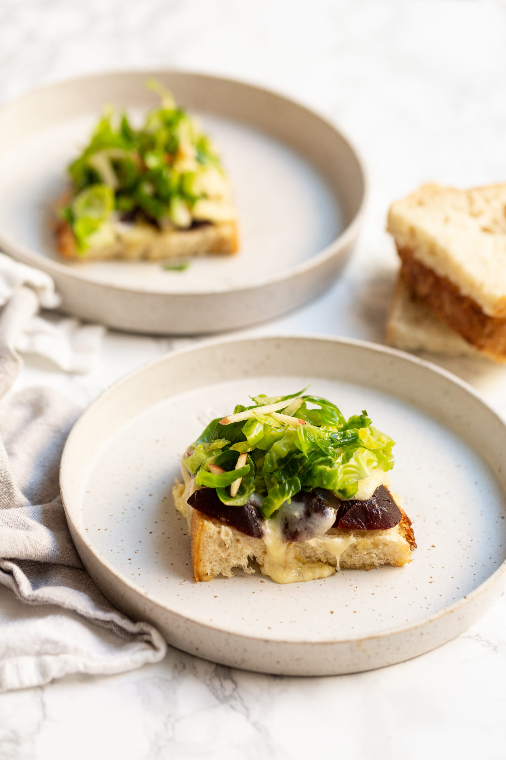Gruyere and Beet Sourdough Sandwiches with Apple and Brussels Sprouts Slaw
