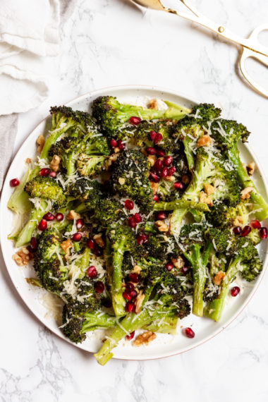 Roasted Parmesan Broccoli with Pomegranates and Walnuts