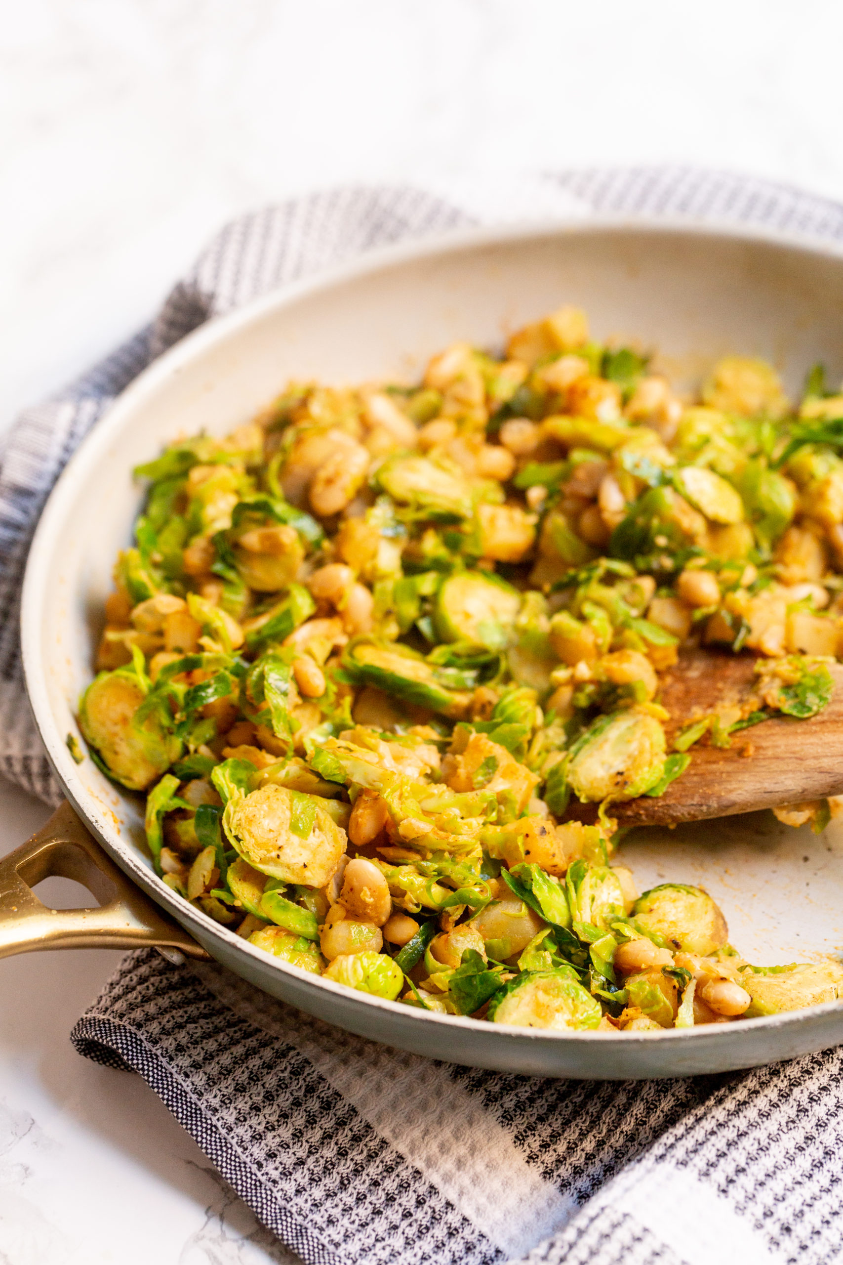 Smoky White Bean, Brussels Sprouts, and Potato Hash