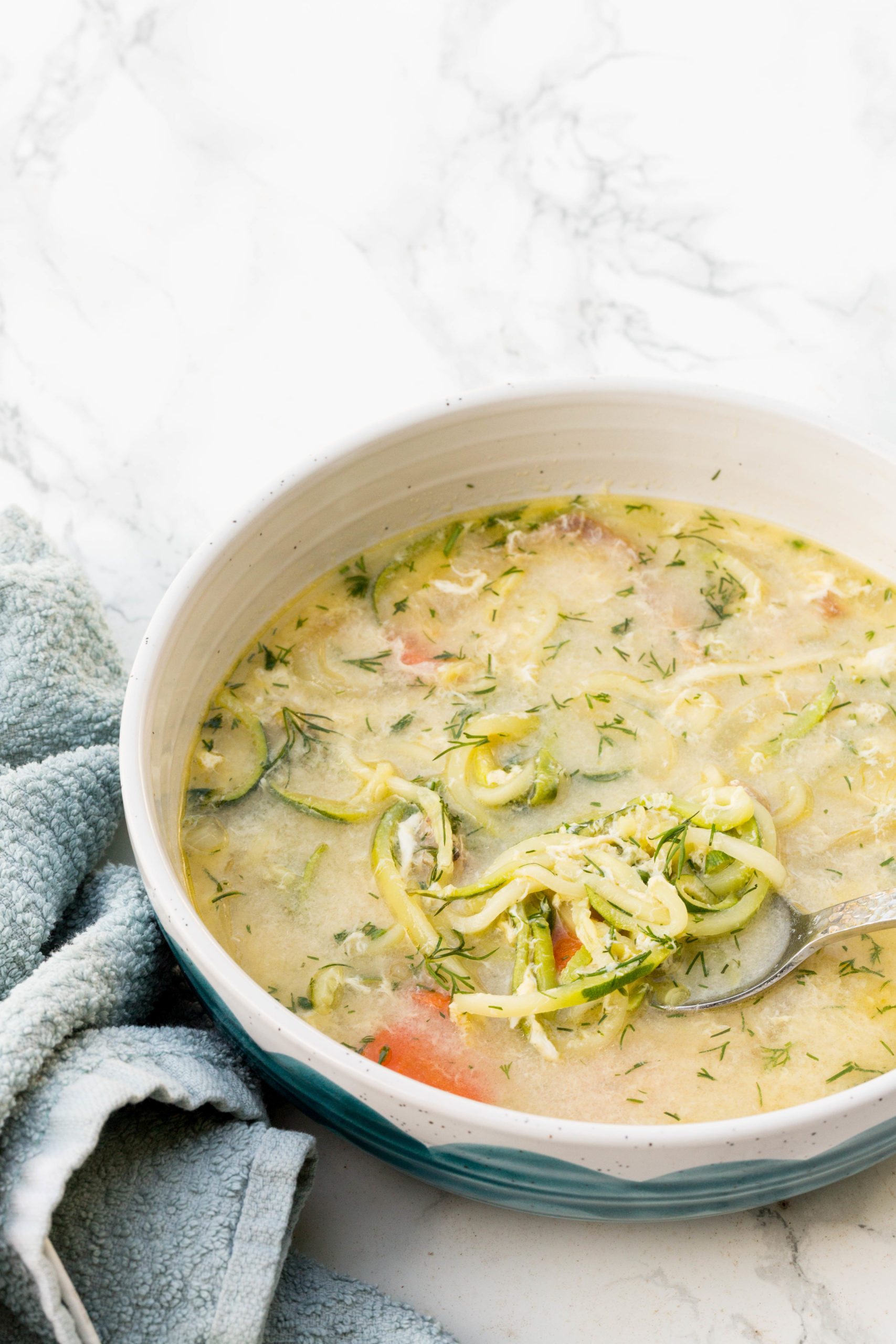 Greek Chicken Zoodle Soup with Dill