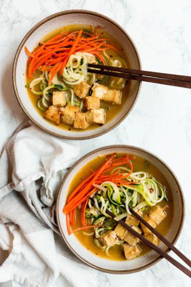 Miso Zoodle Ramen with Crispy Tofu