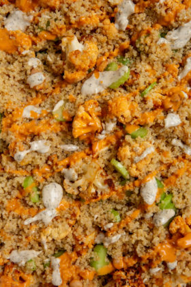 Buffalo Cauliflower and White Bean Quinoa Bake