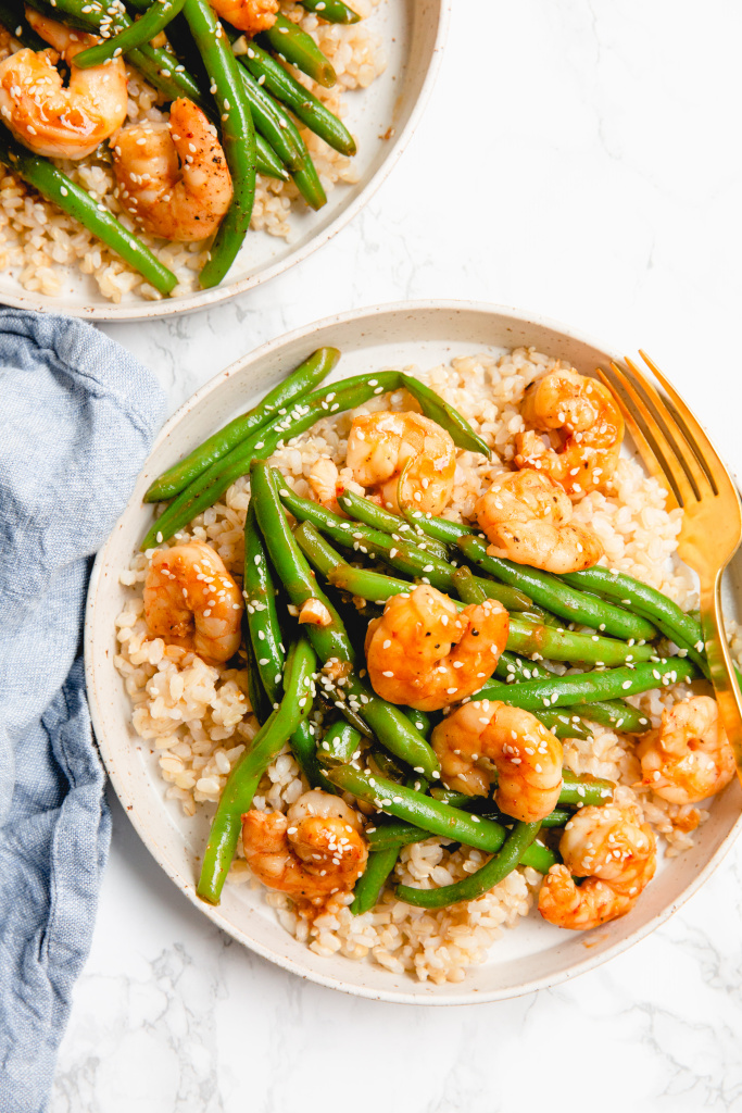 Spicy Sesame Shrimp and Green Bean Stir Fry
