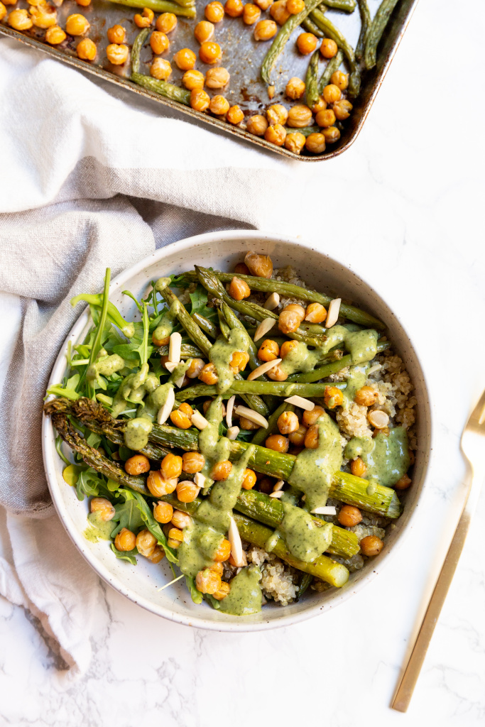Roasted Spring Vegetable and Chickpea Quinoa Bowl